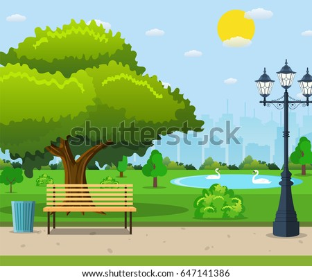 City park bench under a big green tree and lantern with urban landscape in background. Vector illustration in flat style