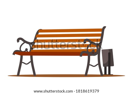 City park bench with bin, outdoor background. Urban landscape vector illustration. Wooden cartoon elements, front view of summer recreation furniture. Empty modern vintage seat. Сток-фото ©