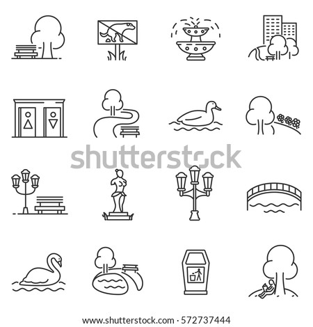 City park icons set. The open plot of land for recreation, thin line design. isolated symbols collection - Shutterstock ID 572737444