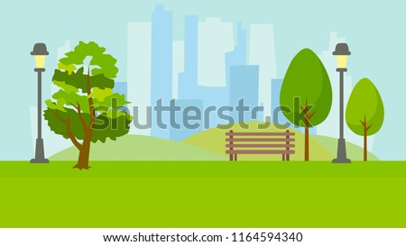 City park. Landscape on the background of tall houses. Green background. Vector flat illustration