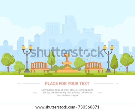 City park - modern vector illustration with place for text. Urban landscape with skyscrapers, business center on the background. Recreation zone with big fountain, benches, lanterns, trees