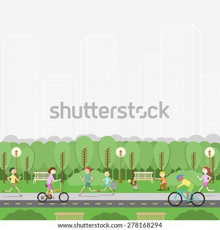 City Park. Recreation, leisure, entertainment. People and nature. Vector flat illustration