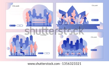 City park. Screen template for mobile smart phone, landing page, template, ui, web, mobile app, poster, banner, flyer. Flat style. Vector illustration