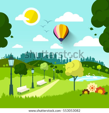 City Park. Vector Nature Landscape. Abstract Green Natural Scene with Flowers. Sunny Day in Town.