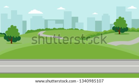 City park with a lawn and trees flat style. Green park with plant environmental and lush grass on a background of town with skyscrapers high buildings. Vector illustration ストックフォト ©