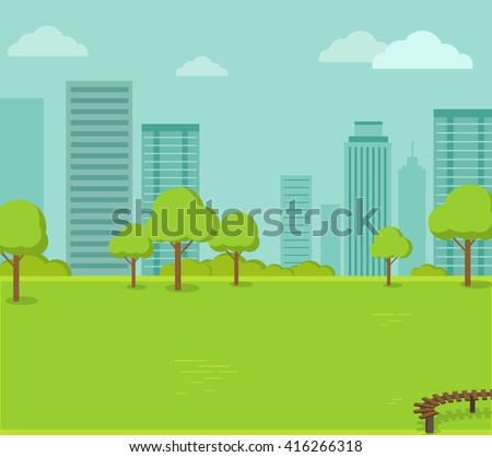 City park with a lawn and trees flat style. Green park with plant environmental and lush grass with a wooden bench on a background of town with business skyscrapers high buildings. Vector illustration - Shutterstock ID 416266318