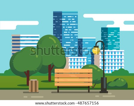 city park with bench with