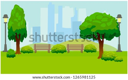 City Park with trees and benches. Green background. Vector