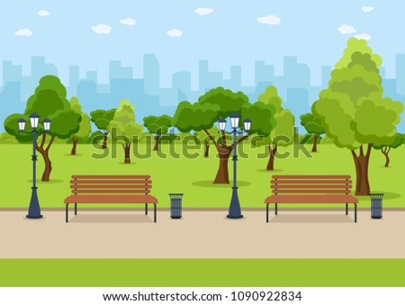 city park wooden bench  lawn