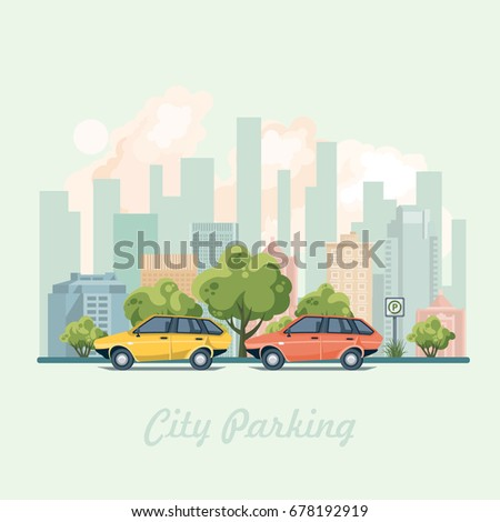 city parking with colorful cars