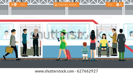 City people are waiting for the subway service.