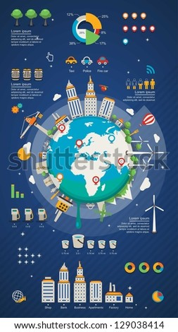 city planet info graphic elements, cartoon planet background