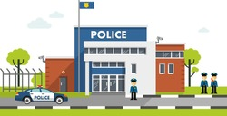 City police station department building in landscape with policeman and police car in flat style isolated on white background