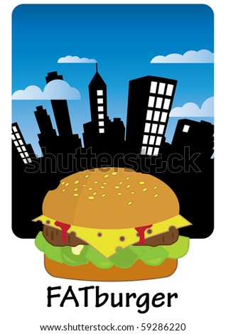 City poster with hamburger - stock vector
