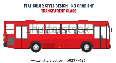 City public bus for advertisement template. Isolated Vector illustration with flat color style design.