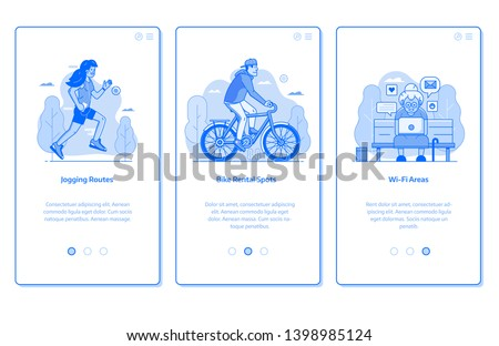 City public park onboarding mobile app page screens with bike rentals, wi-fi zone and jogging routes scenes. Modern citizens activities UI concepts with people characters in line art.