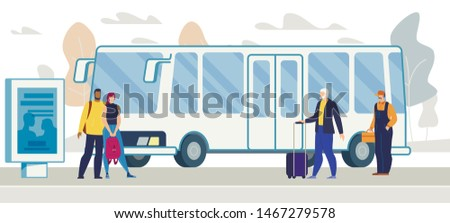 City Public Transport Infrastructure, Citizen and Tourists Transportation Flat Vector. Female and Male Passengers with Baggage, Couple and Worker Waiting Bus on Stop or Station Platform Illustration