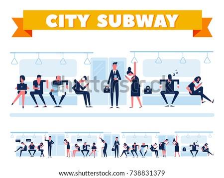 City Public Transport. Passengers in city subway, inside underground train. Flat Vector illustration. Info graphics elements.
