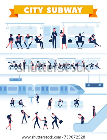 City Public Transport. People are waiting for the subway on station platform. Passengers inside underground  train. Flat Vector illustration, elements for infographics.