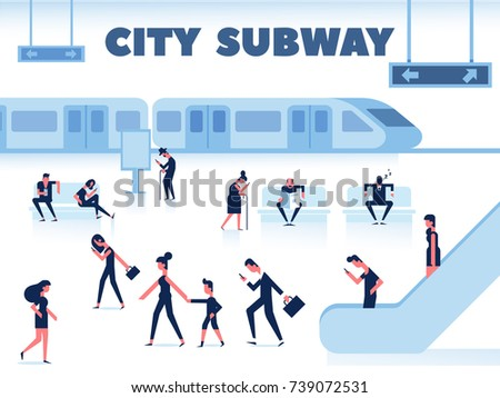 City Public Transport. People are waiting for the subway on station platform. Passengers near subway train. Flat Vector illustration, elements for infographics.