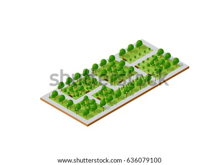 City quarter top view landscape isometric 3D projection with skyscrapers, houses and trees with park
