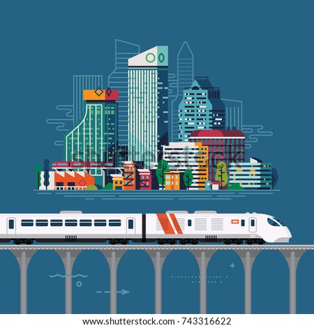 City railway connection. Regional railway network vector illustration with large abstract city and express train on high line viaduct