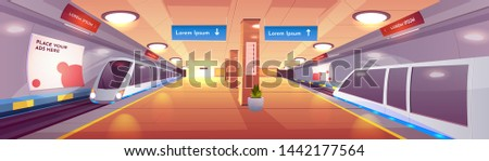 City rapid transit system, modern railway underground station cartoon vector interior with subway, high-speed passenger trains on rails, empty platform with lines map, advertising banners illustration