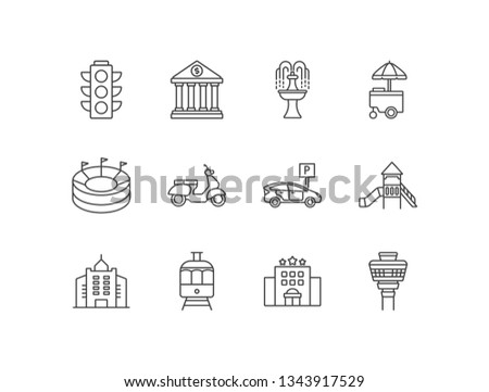 City related line icons set with traffic lights, bank, fountain, street food cart, stadium, scooter, parking, playground, business center, public transportation, hotel, airport.