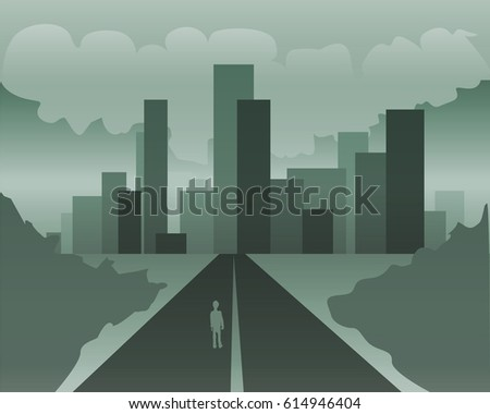 city road monochrome vector