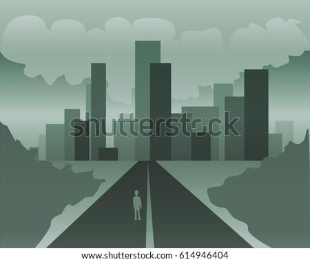 city road monochrome vector
