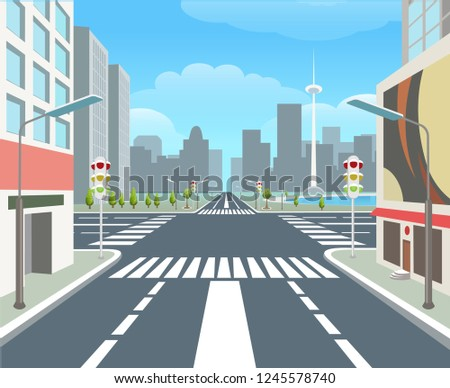 City road. Traffic road urban street, carsroad junctions, business buildings, crossing roads, city highway, vector illustration