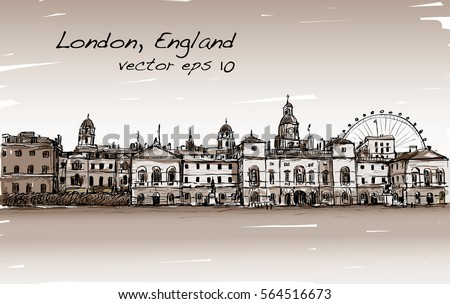 city scape drawing in london