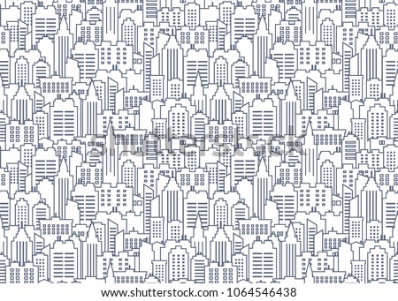 City scape seamless pattern. Thin line City background. Downtown landscape with high skyscrapers. Panorama architecture City scape wallpaper. Goverment buildings line illustration. Vector illustration