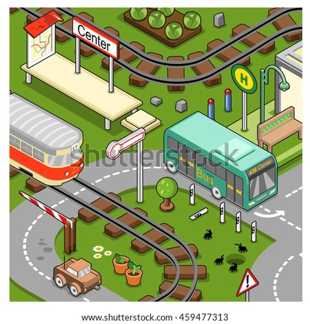 City scene with streetcar, bus, car and tram stop city center (isometric illustration)