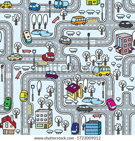 city seamless pattern roads