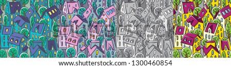 city seamless pattern set with