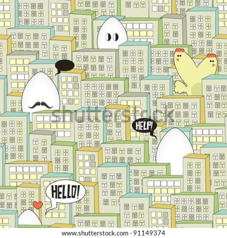 City seamless pattern with eggs monsters for the Easter time. Vector illustration. - stock vector