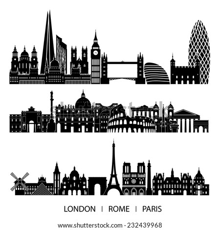 city set  london  paris  rome