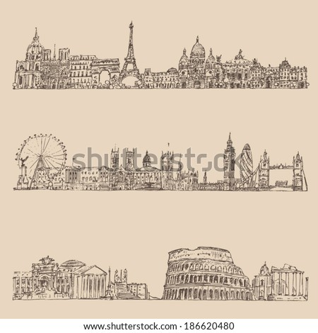 city set  london  paris  rome