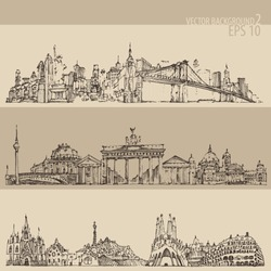 city set (New york, Berlin, Barcelona) vintage engraved illustration, hand drawn