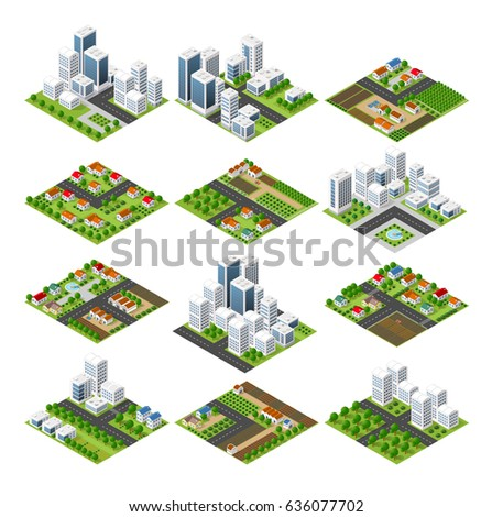 City set quarter top view landscape isometric 3D projection with skyscrapers, houses and trees with park