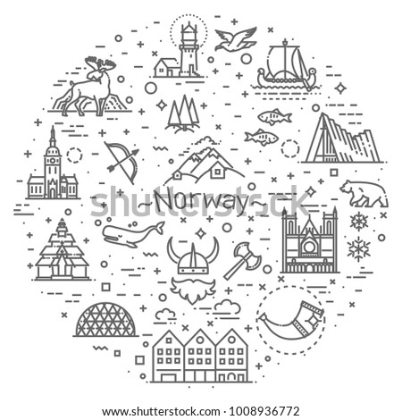 city sights vector icons