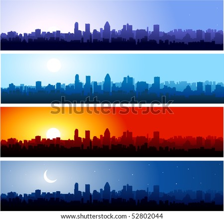 city silhouette at different