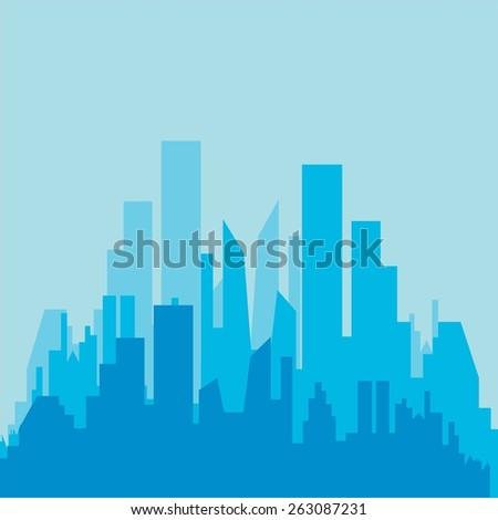 City silhouette. Buildings icon