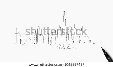 City silhouette dubai in pen line style drawing with black on white background
