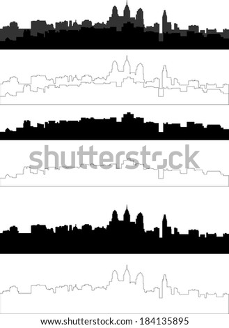 city silhouette in black gray and with interpretation part 2