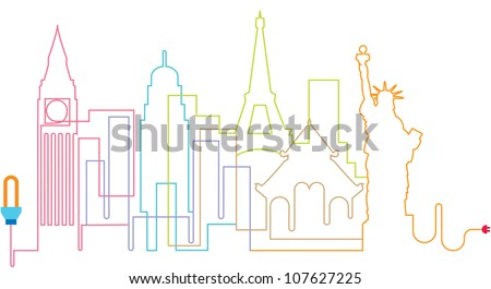City silhouette line, abstract town, vector, illustration - stock vector