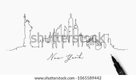city silhouette new york in pen