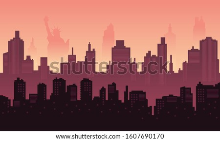 city silhouette of liberty