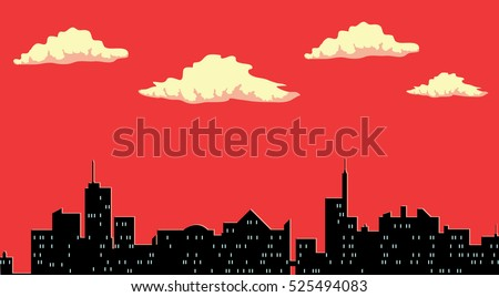 city silhouette  red sky